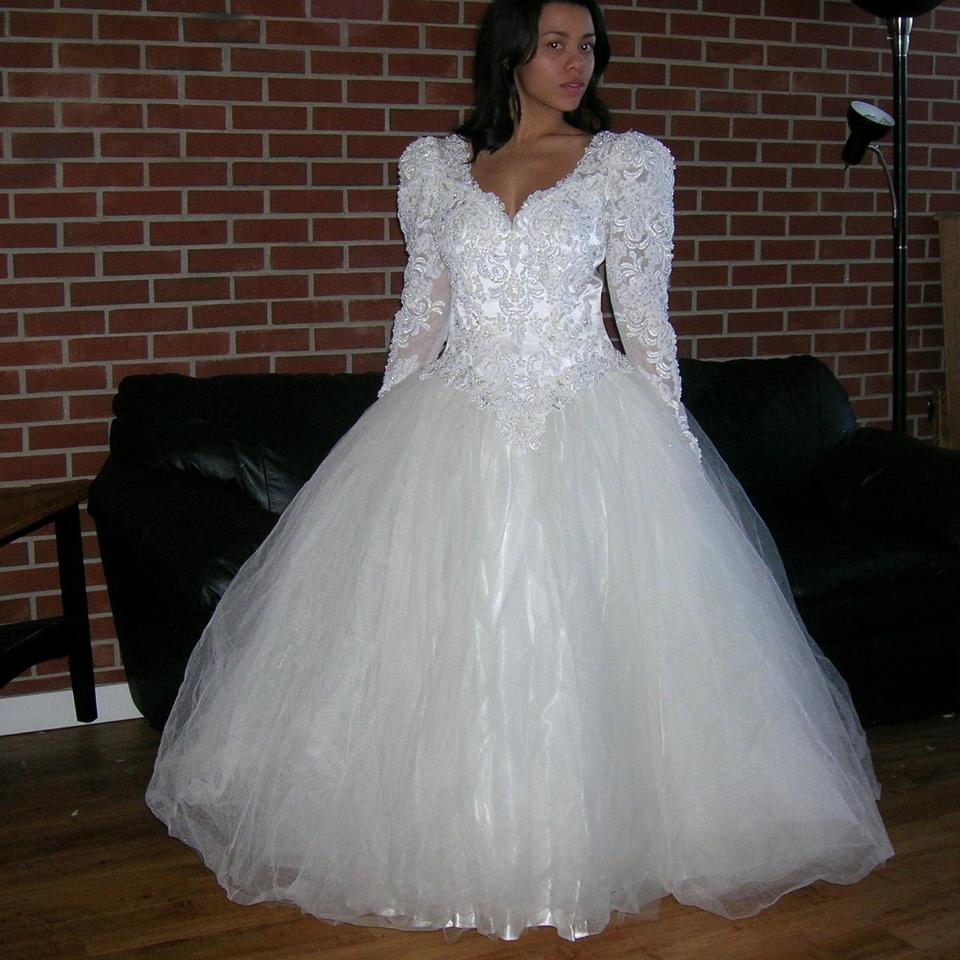 Off White/Cream Satin Vintage Beaded Sequin Lace Bridal Ball Gown ...
