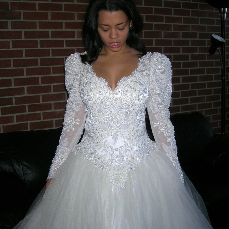 Off White/Cream Satin Vintage Beaded Sequin Lace Bridal