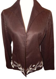 Lafayette 148 New York Brown Linen Lafayette148 New York Suit, Shell Beading Detail