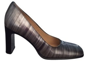 Gucci Pewter Striped Metallic Gray and Black Pumps