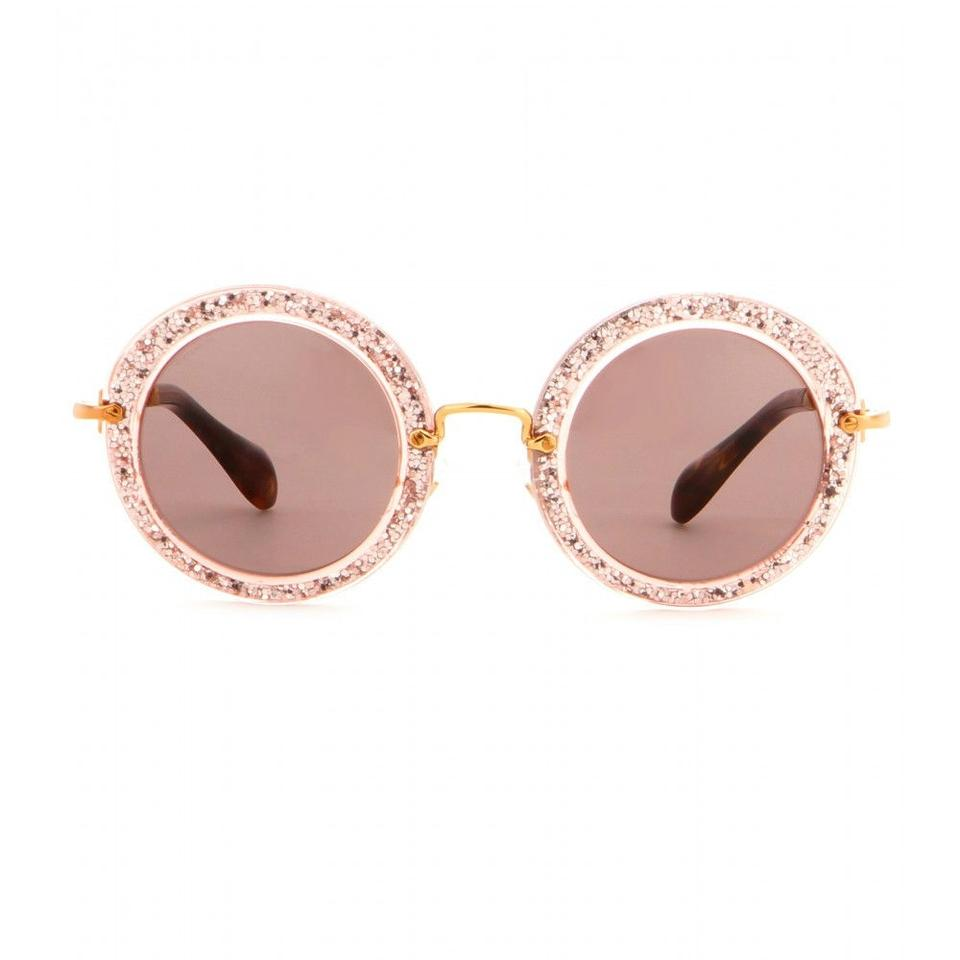 9f8a7e272753 ... Miu Sunglasses Round Glitter Retro Pink Gold with thin Temple - Jackie  Onassis. 123456789101112