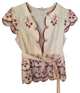 Nanette Lepore Top Cream with red embroidery