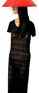 Black Open Weave Maxi Dress by Say What? Side Slits See-thru Knit