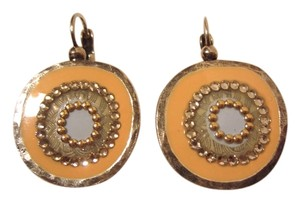 Gas Bijoux GAS Bijoux Modernist Disk Peach Pink & Silver Enamel Crystal Earrings