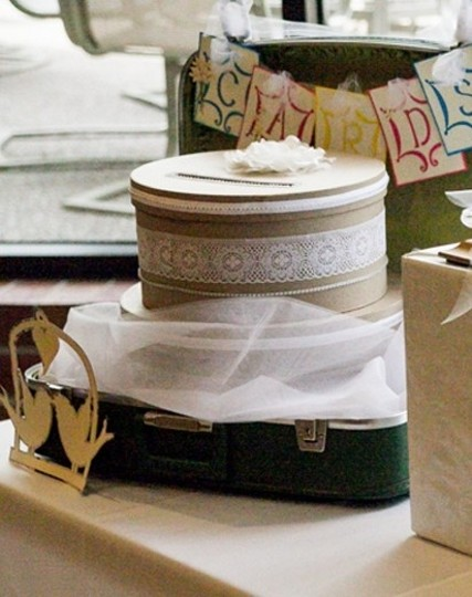 Brown with White Lace Card Box