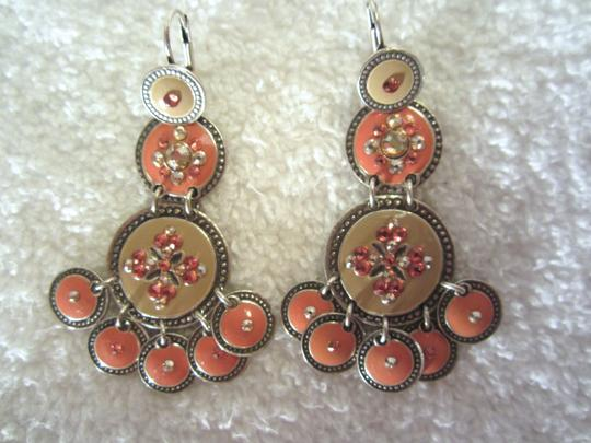 Gas Bijoux GAS Bijoux France Chandelier Enamel Crystal Orange Beige Earrings