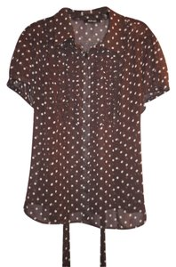 Style & Co Shear Ruffle Top Brown with white polka dots