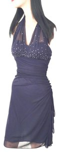 Blondie Nites Sparkle Shear Fabric Studded Night Out Party Holiday Travel Bling Sequin Beads Halter Top Chiffon Sexy Dress