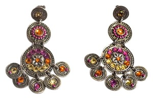 Gas Bijoux GAS Bijoux France Chandelier Crystal Silver Pink Orange Yellow Earrings