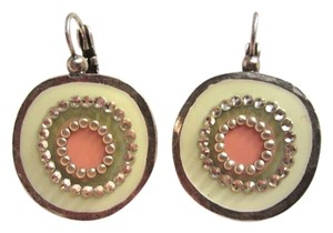 Gas Bijoux GAS Bijoux Modernist Disk Off White Pink Silver Enamel Crystal Earrings