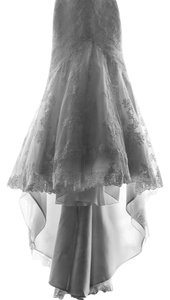 La Sposa Off White/Ivory Tulle Lace with Guipur Applications Mullet Feminine Wedding Dress Size 8 (M)