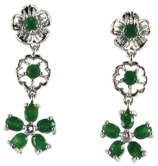 Preload https://item4.tradesy.com/images/unknown-natural-green-emerald-and-white-zircon-dangle-sterling-silver-flower-earrings-4148098-0-0.jpg?width=440&height=440
