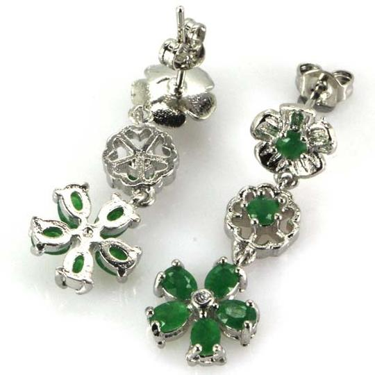 Other Natural Green Emerald and White Zircon Dangle Sterling Silver Flower Earrings
