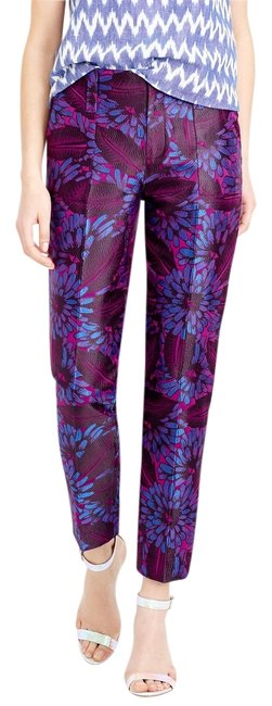 J.Crew Jacquard Midnight Floral Print Cropped Skinny Size 0 Capri/Cropped Pants Raspberry