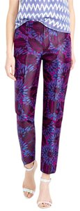 J.Crew Midnight Floral Garden Skinny Cropped Flora Graden Jacquard Size 0 Capri/Cropped Pants Raspberry