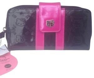 Hello Kitty Hello Kitty Licenced Zipper Crystals Wallet Purse New Cute Black/Pink Long Size