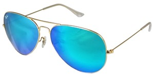 Ray-Ban Authentic Ray-Ban Aviator Flash Sunglasses RB3025 112/17 Blue Mirror Lens With Gold Frame Size 58mm