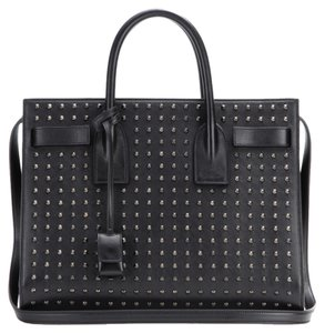 Saint Laurent Studded Leather Exclusive Tote in Black