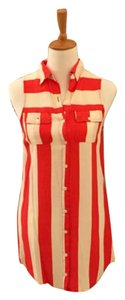 I Love H81 short dress Red and cream stripes. on Tradesy