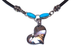 Na Hoku 18K Over Sterling Silver, Mother of Pearl, 82 Carat Turquoise Pendant with Leather Cord