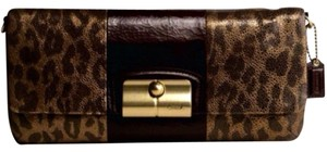 Coach Leopard Metallic Clutch
