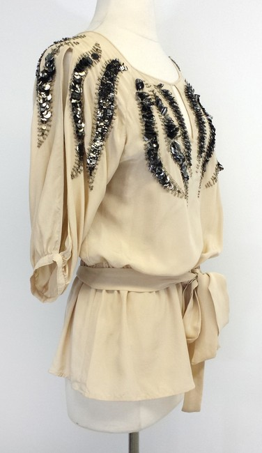 Yoana Baraschi Beige Silk Beaded Top