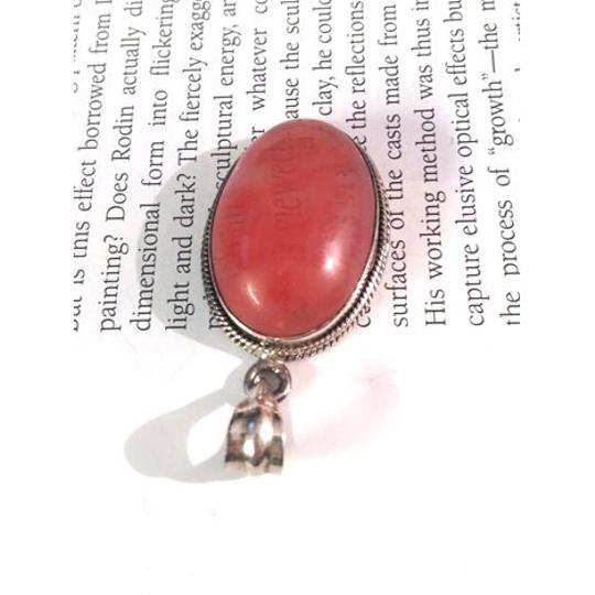 Other Large Cherry Quartz Cabochon & Sterling Silver pendant