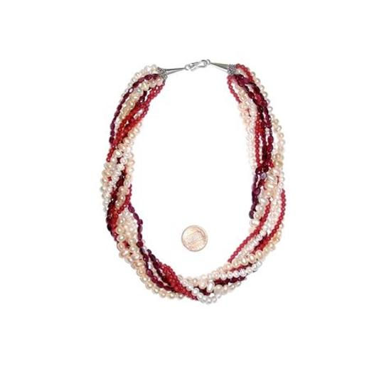 Other Unique Multistrand Natural Freshwater PEARLs Coral & GARNET Bead Choker Necklace