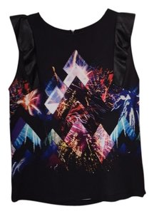Sandro Electronic Black Colorful Concert Music Graphic Top