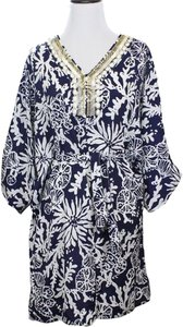 Lilly Pulitzer short dress Wilda Caftan In The Groove Bright Navy Beach Embellished on Tradesy
