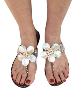 Beverly Feldman White Sandals