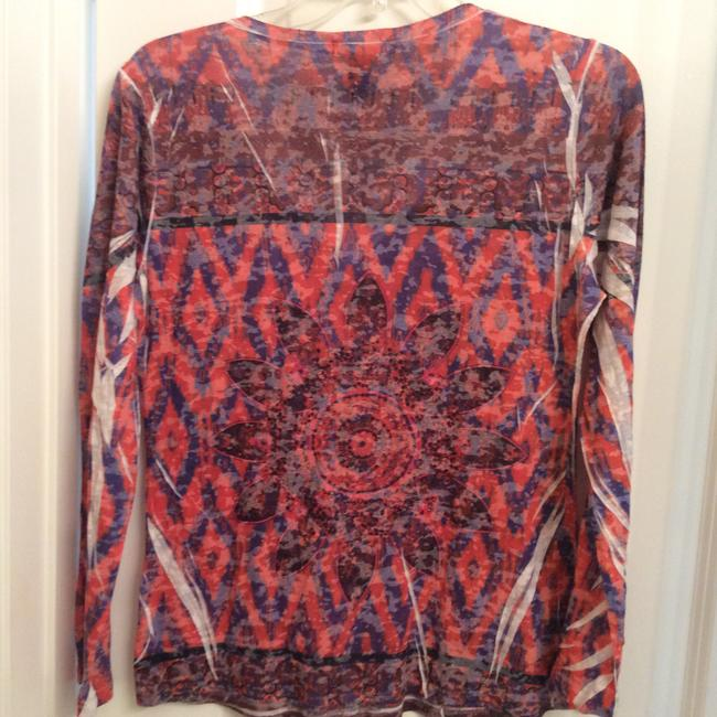 INC International Concepts Light Weight Long Sleeve Casual Aztec T Shirt Multi orange, brown, black and blue