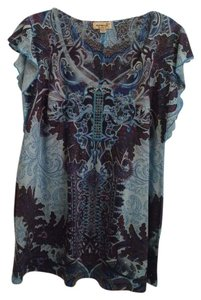 One World Summer Top Multi blues and brown
