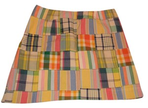 J.Crew Mini Skirt yellow blue red patchwork