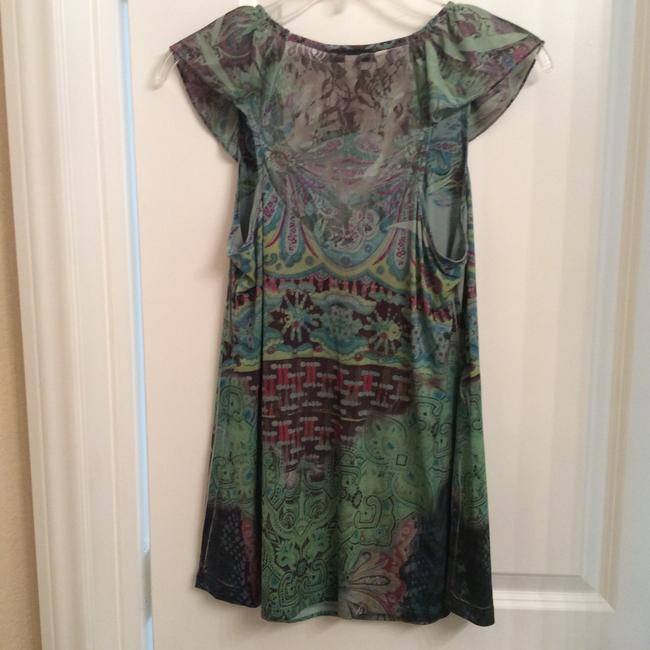 One World Live and Let Live Easy Care Summer Ruffled Sweet Summer Color Top Multi greens and brown