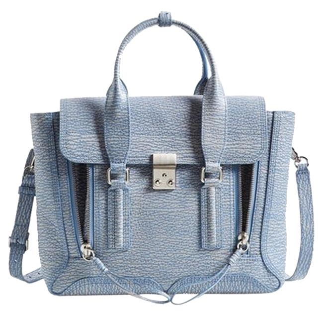 Item - Pashli (Medium) Periwinkle/Cream Leather Satchel