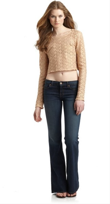 Free People Lurex Crochet Long Sleeve Lurex Crochet Long Sleeve Crochet Top pink