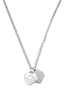 Tiffany & Co. T&Co Unique Sterling Silver Double Heart Pendant
