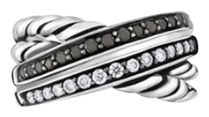 David Yurman David Yurman Crossover Ring with Black and White Diamonds