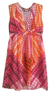 MILLY Chiffon Baby Doll Empire Waist Printed Dress