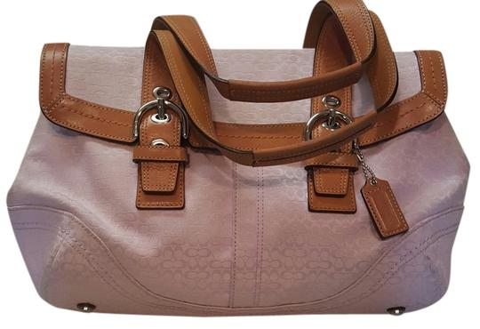 Preload https://img-static.tradesy.com/item/4152838/coach-soho-mini-signature-purse-lavender-and-camel-trim-canvas-with-leather-satchel-0-0-540-540.jpg
