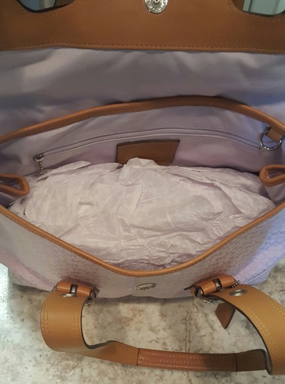 Coach Satchel in Lavender and Camel trim
