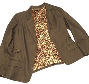 Anne Klein Animal Print Silk Stitching Quality Denim Blazer