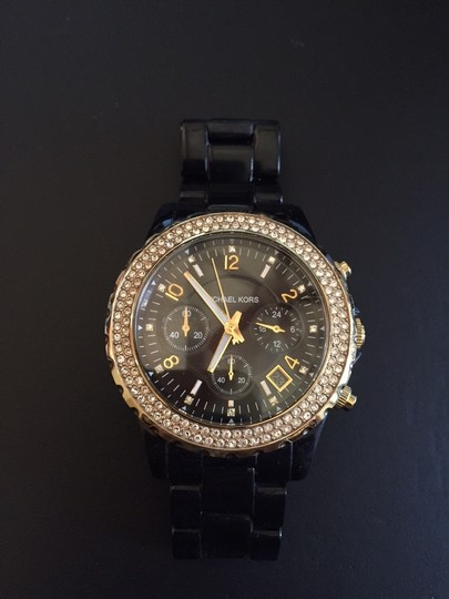 Michael Kors Michael Kors Women's MK5270 Black Ceramic Runway Gold Glitz Watch