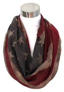LC Lauren Conrad American Flag Distressed Infinity Scarf Soft 100% Viscose 4th July Patriotic