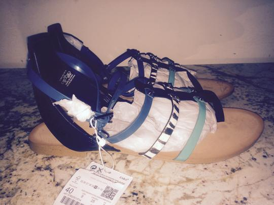 Zara MultiStrap zebra pony hair teal green black Sandals