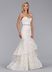 Jim Hjelm Ivory Gold Chantilly Lace Style Number 8456 Traditional Wedding Dress Size 10 (M)