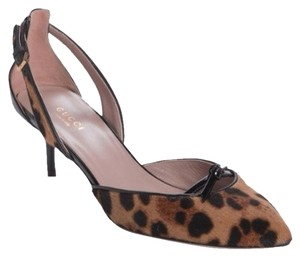 Gucci D'orsay Designer Black And Leopard Pumps