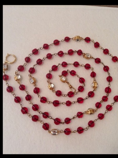 "Chanel SUPER RARE VINTAGE CHANEL 56"" RED GRIPOIX & CRYSTAL NECKLACE"