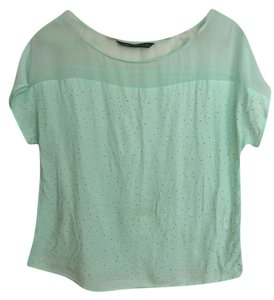 Zara Studded Gold Top Turquoise